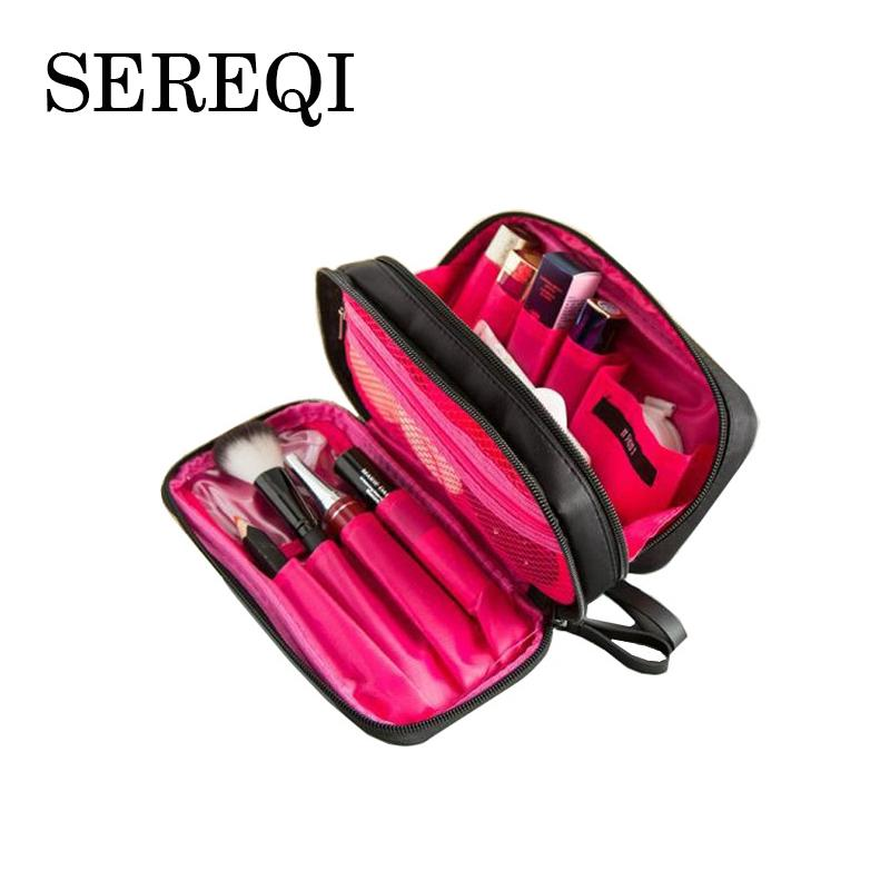 SEREQI Fashion Nylon Double Layer Cosmetic Bag Double Zipper Makeup Bag Wash Travel Organizer Toiletry Beauty Case