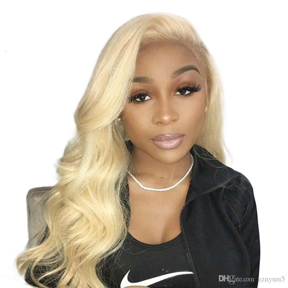 Loira peruca dianteira do laço 613 perucas de cabelo humano para as mulheres negras Pré Plucked Com onda do corpo do cabelo do bebê brasileiro cabelo cheio End