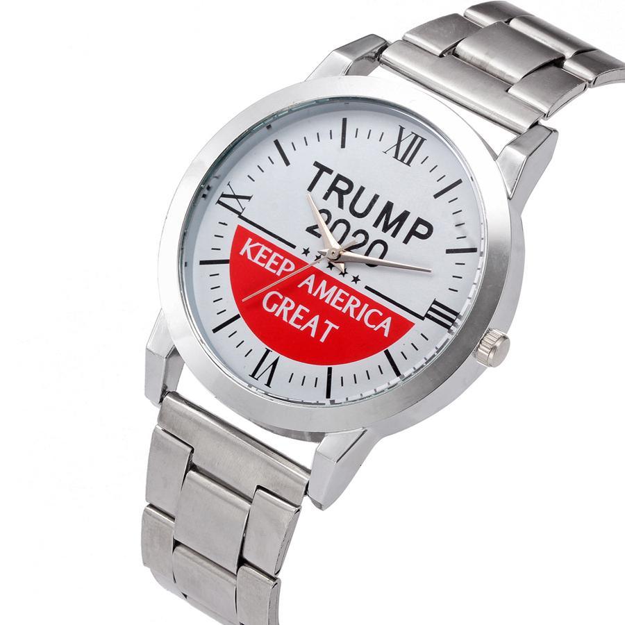 Trump Armbanduhr 5 Styles Trump 2020-Bügel-Uhr Retro Brief gedruckt Männer Jungen-Quarz-Uhren OOA7554-4