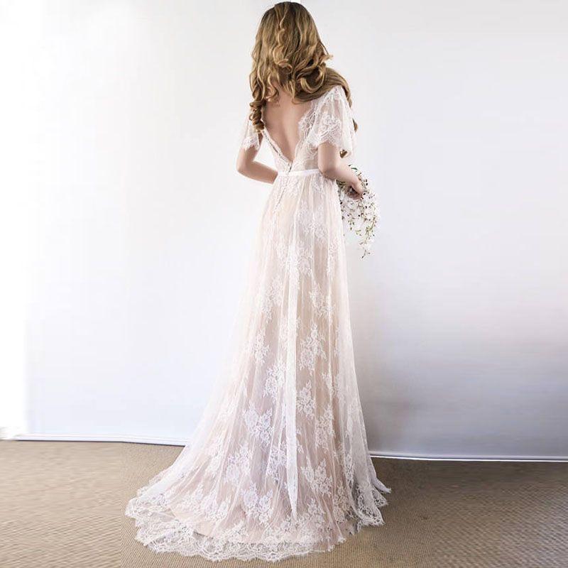 Boho vestido de noiva 2020 v pescoço capa manga laço praia vestido de casamento barato costume feito sob encomenda feita uma linha vestidos de noiva