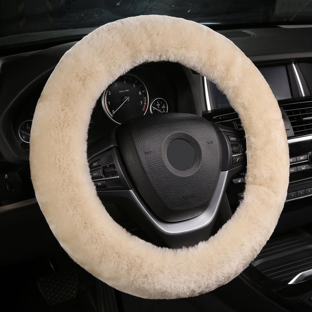 Car Stretch-on Steering Wheel Cover/Soft Australian Wool Vehicle braid on the steering-Wheel Protector