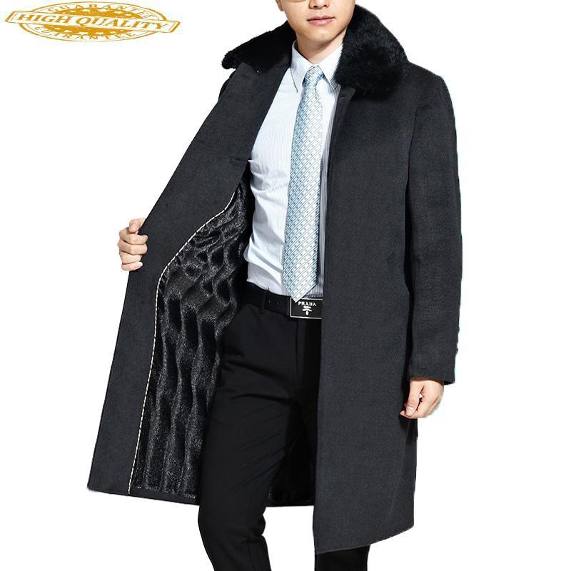 Hommes Manteau en laine Hommes Marque-vêtements épais col de fourrure naturelle Pardessus Homme Nouveau Woollen long Hommes Vestes et manteaux WUJ1148