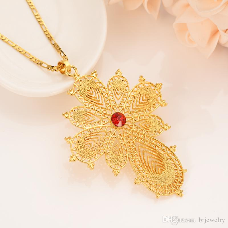 African dubai Indian necklace pendant gold personality diamond red diamond cross religious wedding betrothal articles gift giving party