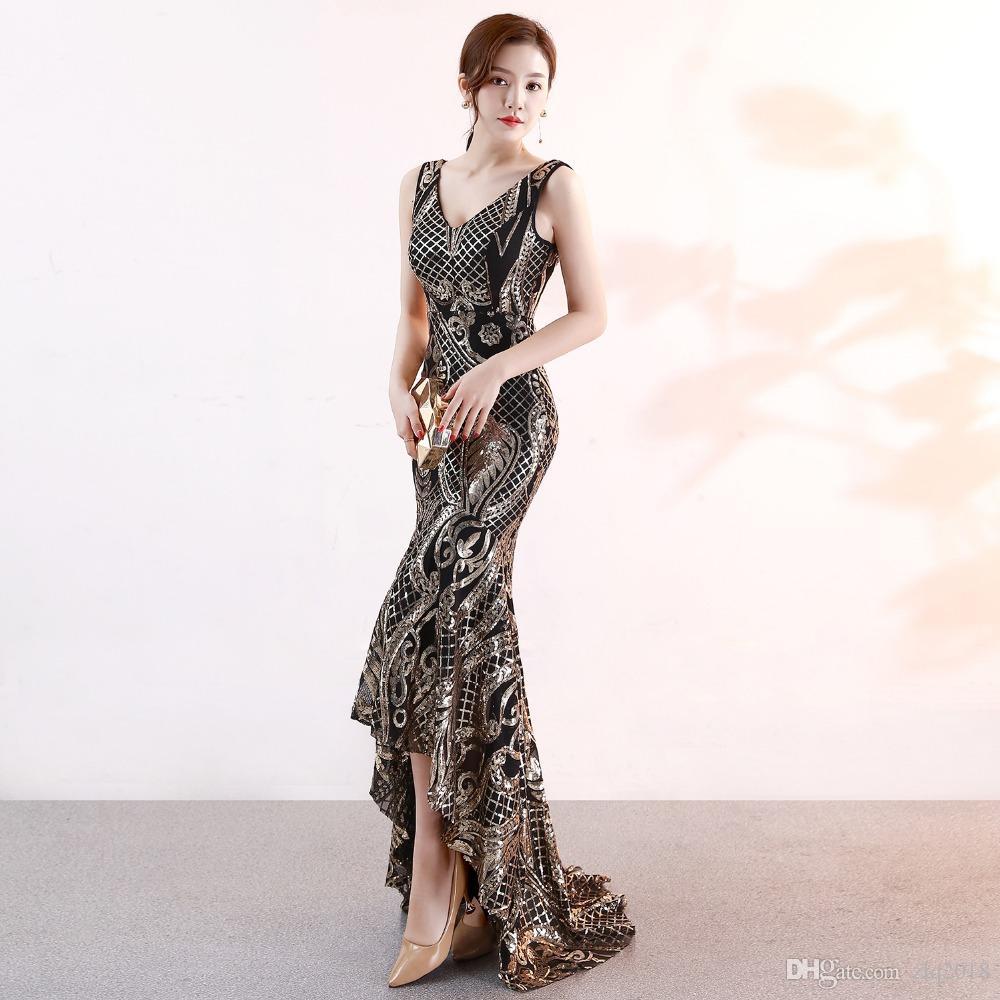 Abiti Da Sera Unique.New Sequin Gold High Low Evening Dress Gown Sexy V Neck Sleeveless
