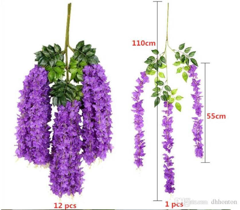 2020 Artificial Wisteria Flower 110cm Long Dense Silk Flower Vine