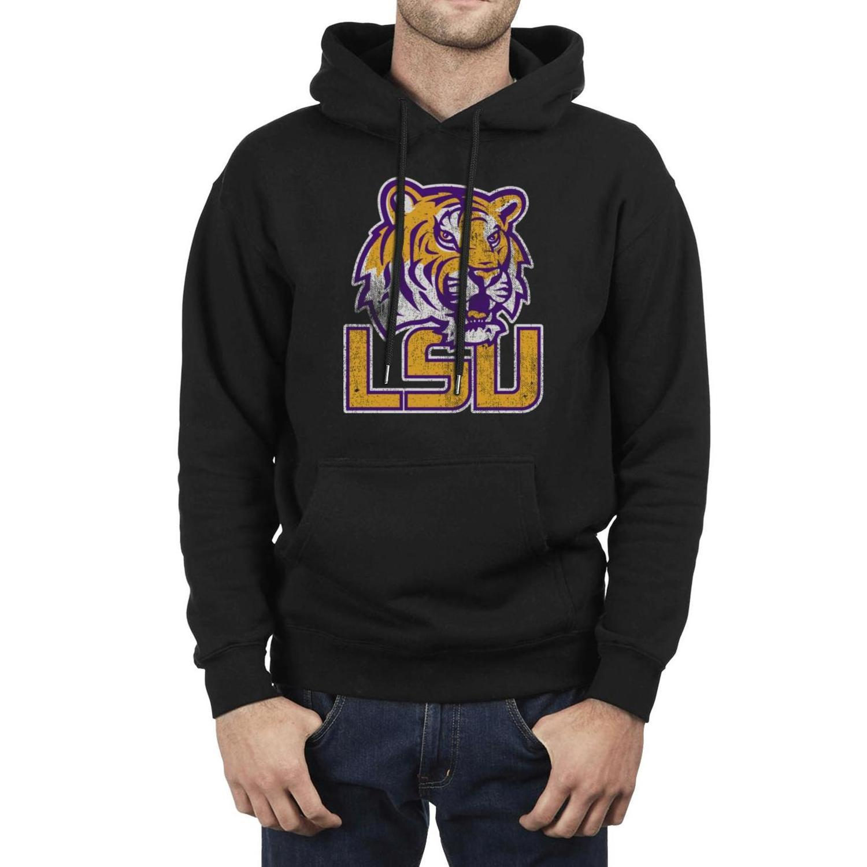 패션 남성 LSU 타이거스 축구 농구 오래된 인쇄 로고 검은 양털 운동복 인쇄 졸라 매는 끈 힙합 후드 대리석 핑크