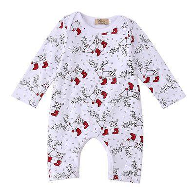 Weihnachtsschneeflockemuster Baby-Baby-Jungen-Spielanzug Deer Langarm-Overall-Outfits Kostüm