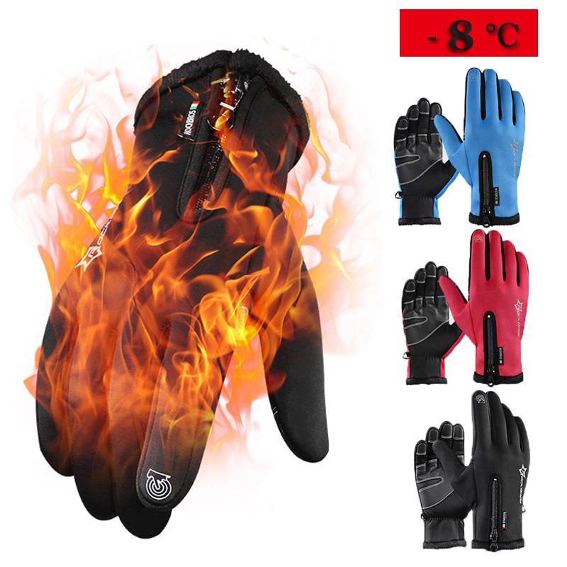 Guantes al por mayor de invierno de ciclo térmico a prueba de viento de pantalla táctil completa Guantes de bici del dedo calientan guantes de lana de bicicletas MTB para Hombres Mujeres