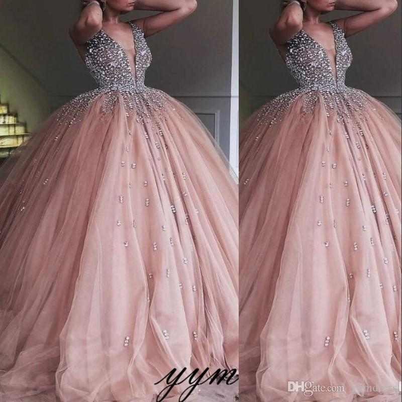 2019 Champagne Tulle Ball Gown Quinceanera Dress Elegant Heavy Beaded Crystal Deep V Neck Sweet 16 Dresses Evening Prom Gowns