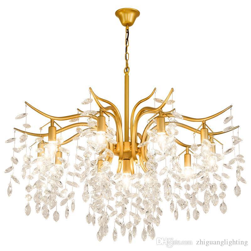 Lámpara de restaurante Lámpara de cristal de metal dorado / negro nueva barra Lámpara de cristal Lámparas colgantes Lámparas de suspensión Lámpara de oro
