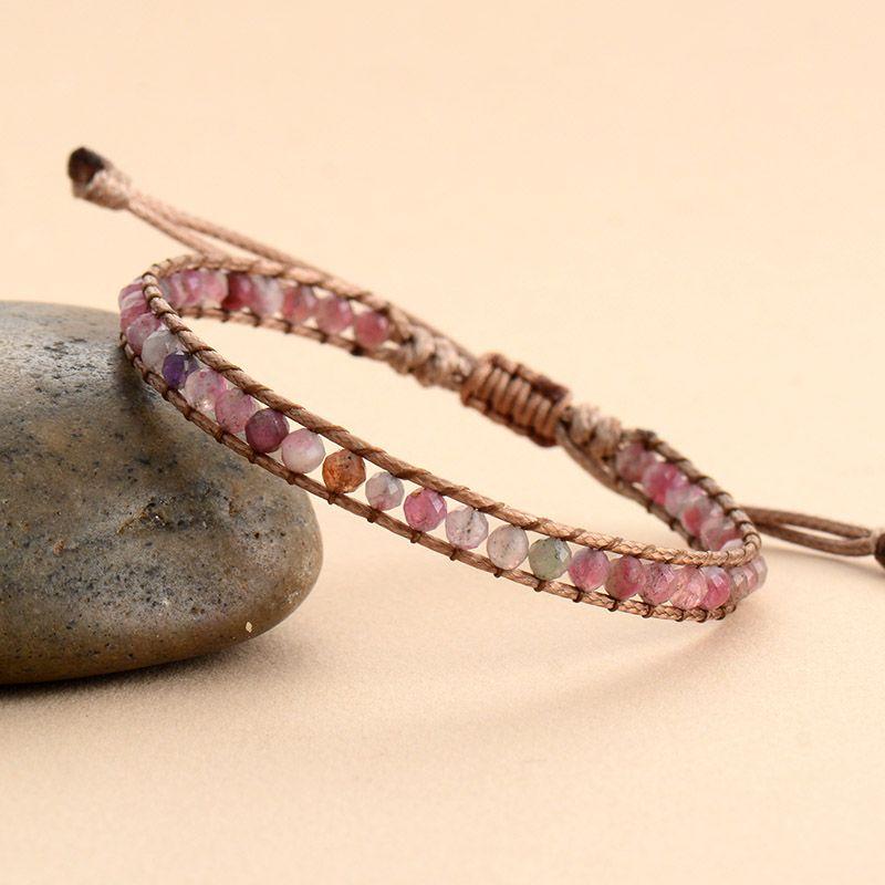 en stock pulseras del abrigo de piedra lindos para las mujeres turmalina rosa del cordón vegano brazalete de la pulsera de 4 mm regalos de la joyería pulsera de los granos de Navidad