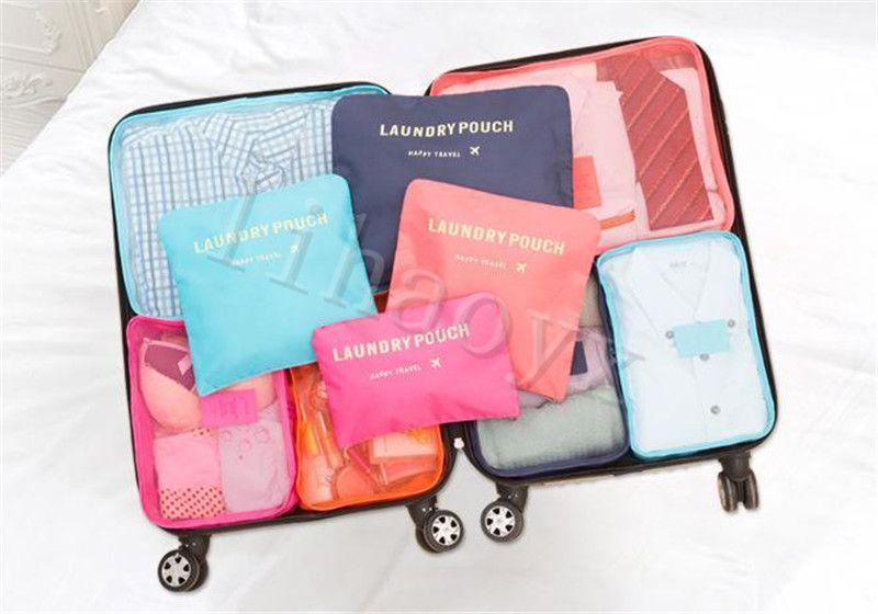 6pcs / set sacos de viagem organizador portátil de armazenamento de bagagem Organizador Roupa Tidy Pouch Suitcase embalagem Lavandaria saco armazenamento caso D132