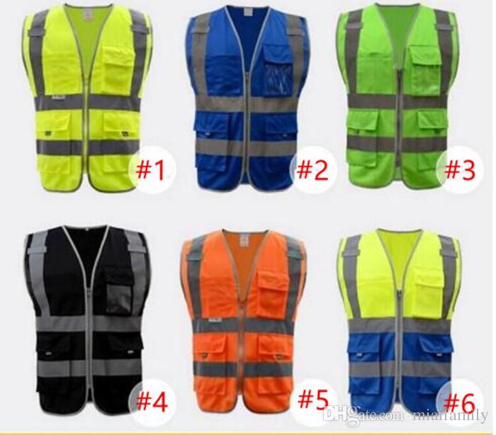 Elevata visibilità Lavorazione della sicurezza di sicurezza Avvertimento Riflettente del traffico del traffico Vest Verde Rifletti Abbigliamento sicuro Gilet da uomo DHL