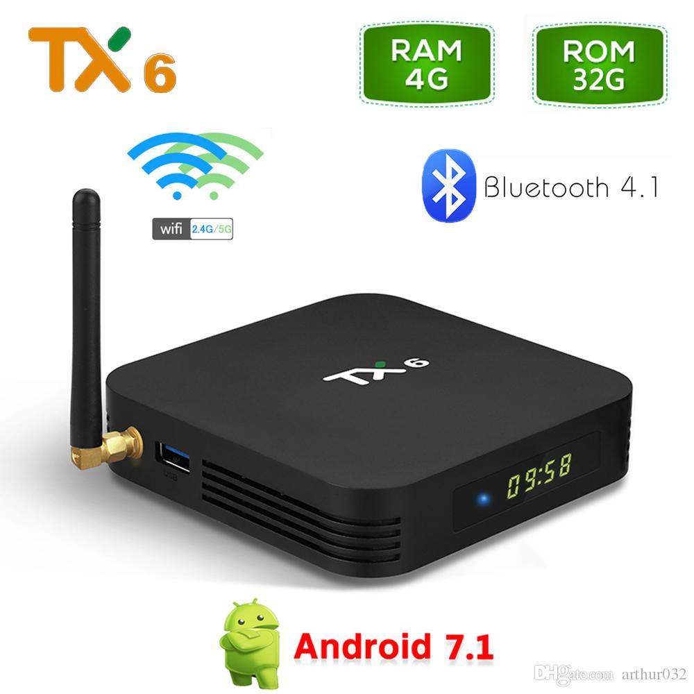 TX6 4GB RAM 32GB ROM Android 9.0 TV Box Allwinner H6 Quad Core Media Player 2.4G 5G Wifi BT 4.1 4K HD Smart Set TopBox