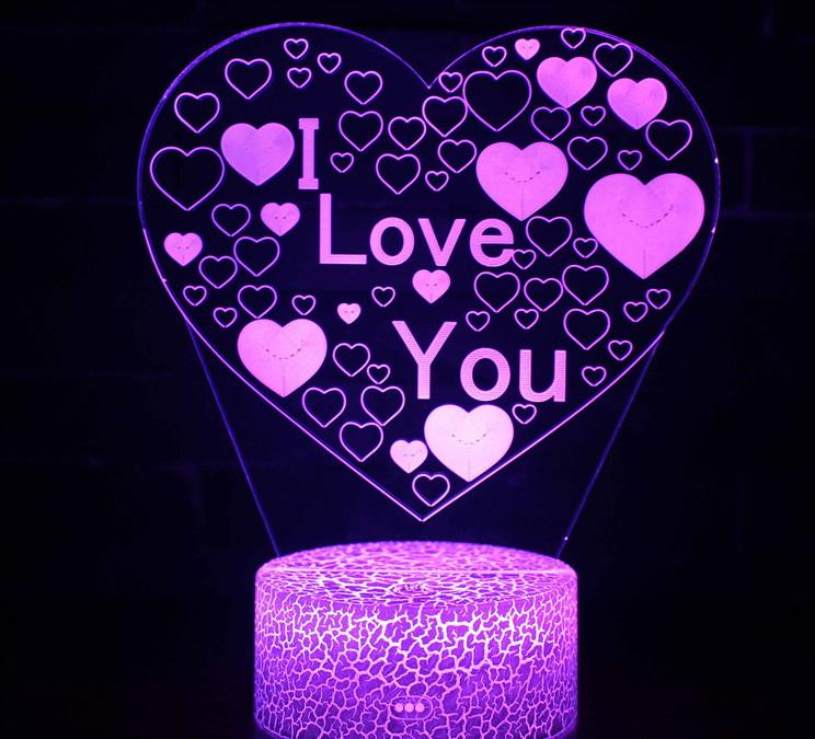 3D Lamp Illusion Night Light I Love U heart 7 Colors Changing Decorative Desk Lamp for lover Bedrooms wholesale