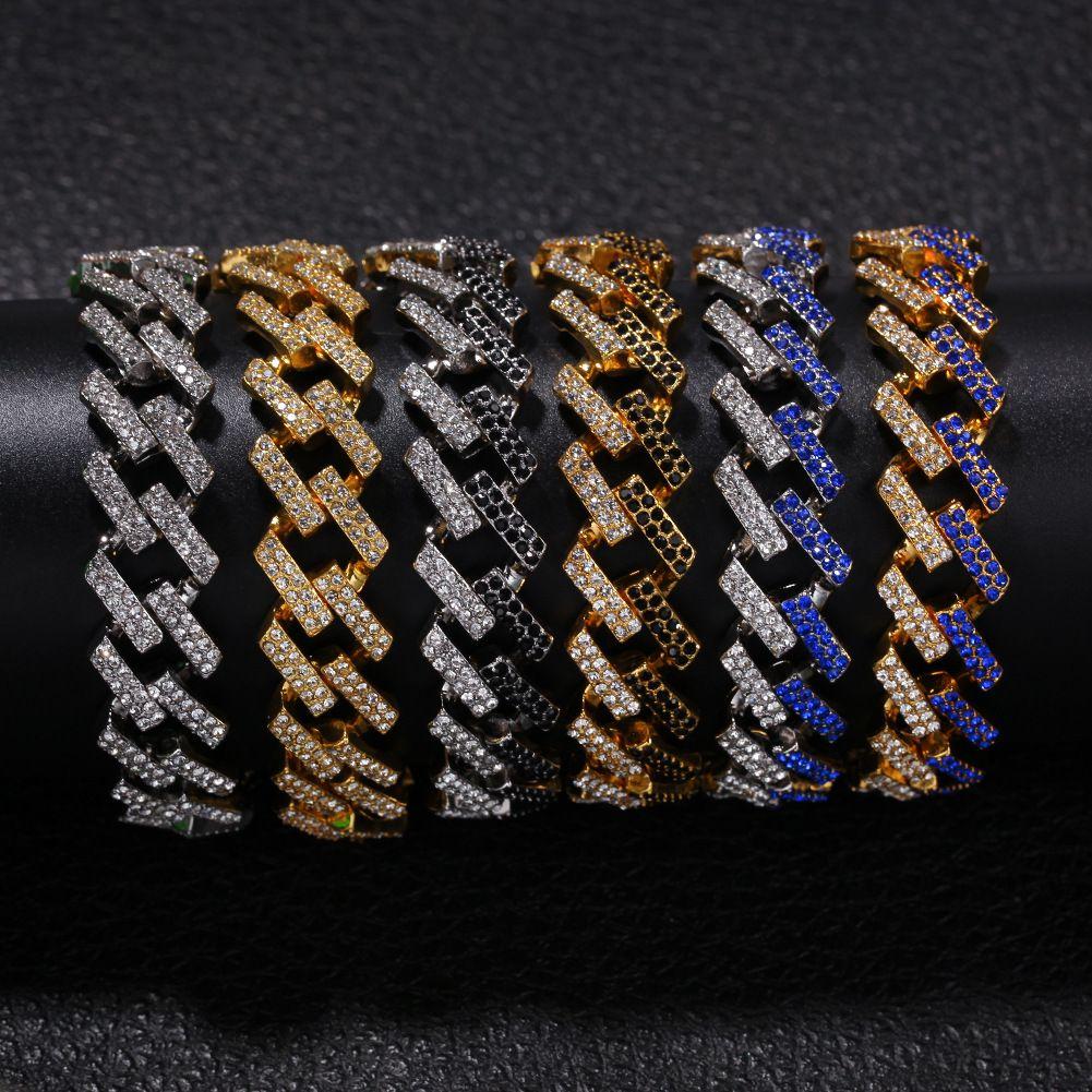Remise des prix Bracelet hommes de diamant-or plaqué bracelet hop cubain de la hanche hommes Bling Bling anniversaire de mariage de cadeau d'anniversaire meilleur artefact