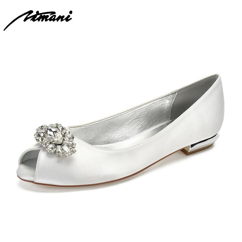 Comfort Flat Satin Crystals Women Shoes Peep Toe Slip on Prom Evening Wedding Brdial Party Dress Ladies Flats