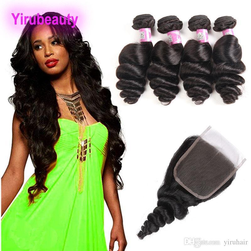 Cheveux vierges malaisiens Crochet Extensions de cheveux 4 Bundles Avec 4X4 Fermeture de Dentelle Vague Lâche 8-28 pouces 9A Couleur Naturelle Vague Lâche