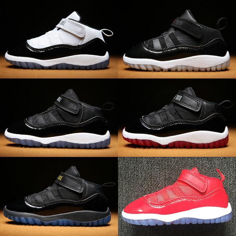 Gimnasio Rojo Jumpman XI zapatos para niños pequeños 11 Bred Space Jam Kids Retro Baloncesto zapatilla de deporte azul Concord Gamm recién nacidos del bebé 11s infantiles de los zapatos 22-27 Euro