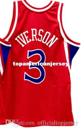 sports shoes e056c 56012 2019 Cheap Wholesale Retro 1996 97 Allen Iverson Jersey Mitchell & Ness Men  Sewn RED #3 HARDWOOD CLASSICS Vest Stitched Basketball Jerseys Ncaa From ...