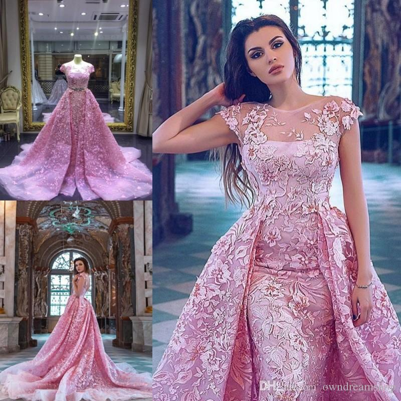Luxury Pink Mermaid Prom Dresses With Detachable Train Lace Appliqued Formal Evening Gowns Short Sleeve Jewel Neckline Party Dress