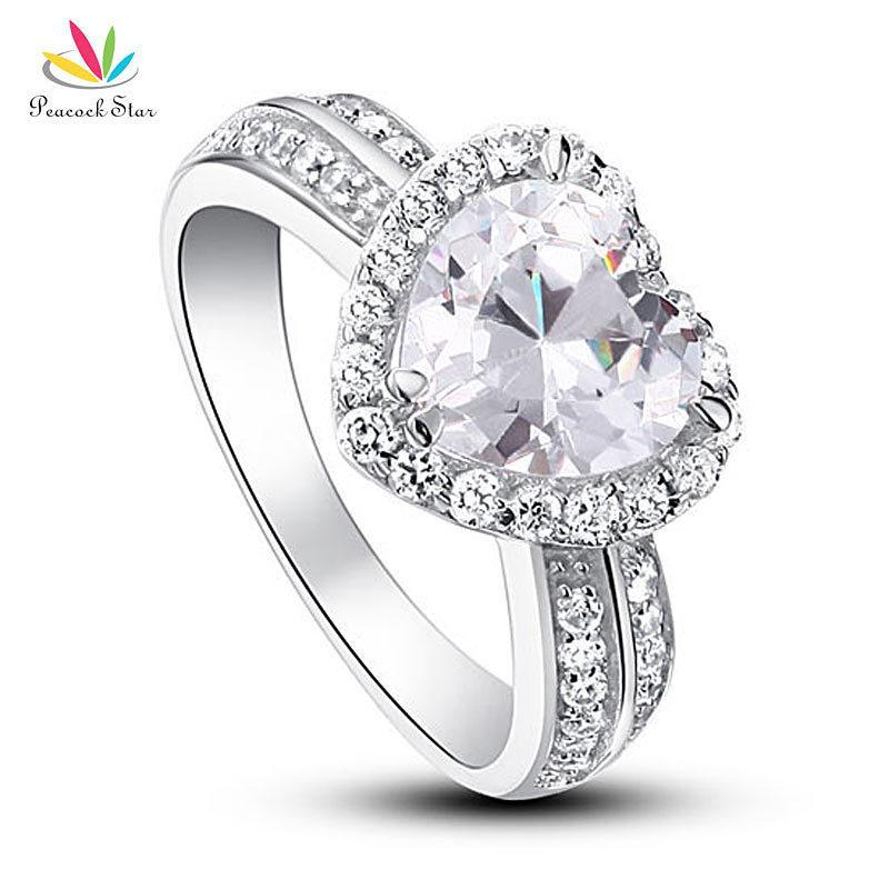 Павлин звезда 2 карат в форме сердца сплошной стерлингового серебра 925-й годовщины свадьбы обручальное кольцо ювелирные изделия Cfr8011 J190715