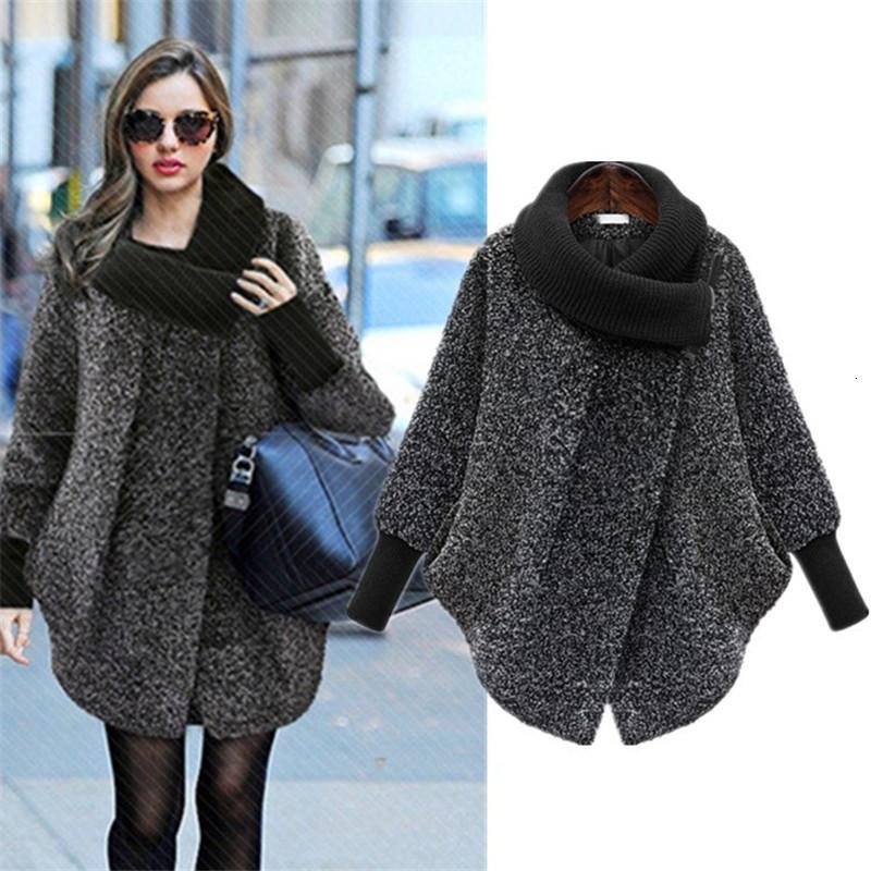 2019 más el tamaño de la capa de lana con mangas murciélago de la bufanda de cuello mujeres de las chaquetas de invierno Moda de vestir exteriores gruesa capa de la cremallera Casual X848 Y191129 Loose