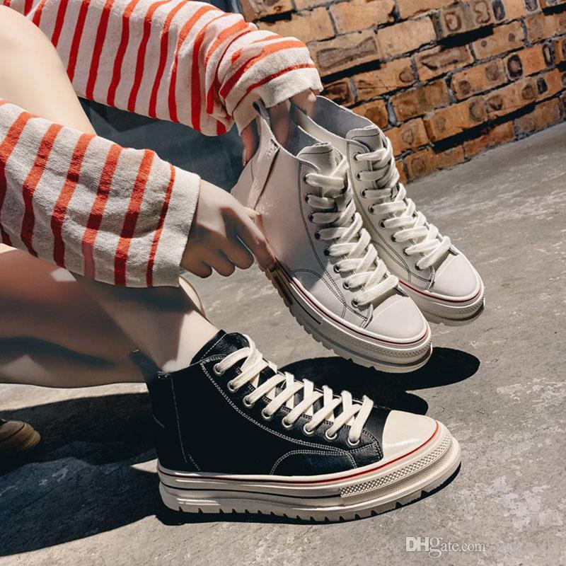 Printemps et en automne Mode High Cut Femmes Chaussures sauvages confortables Respirant bas simples épais Chaussures plateforme Casual