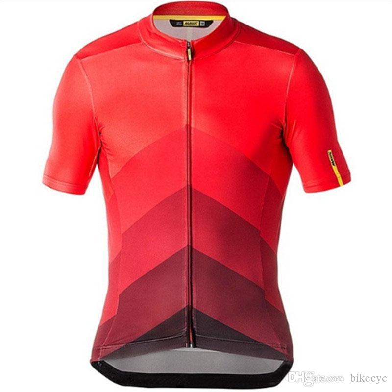 2021 Yaz Erkek Mavic Takım Bisiklet Jersey Kısa Kollu Bisiklet Üniforma 100% Polyester Hızlı Kuru MTB Bisiklet Gömlek Yarış Y20123010 Tops