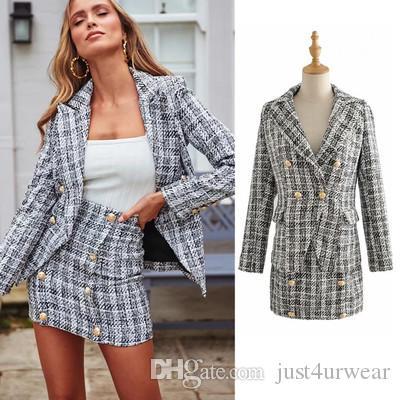 Women Fashion Plaid Elegant Suits Blazer Jackets Buttons Double Breasted Tweed Female Blazers Autumn Winter Wear Coats