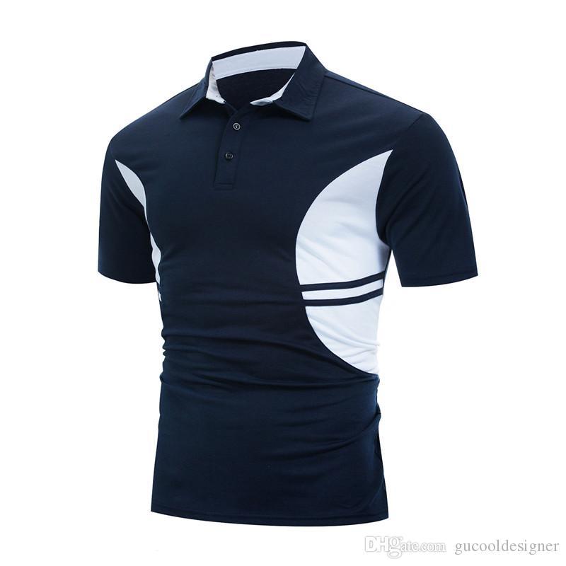 Estate Panelled modo del Mens di polo casuale manica corta Classic Tees Mens rapidi asciugare i vestiti