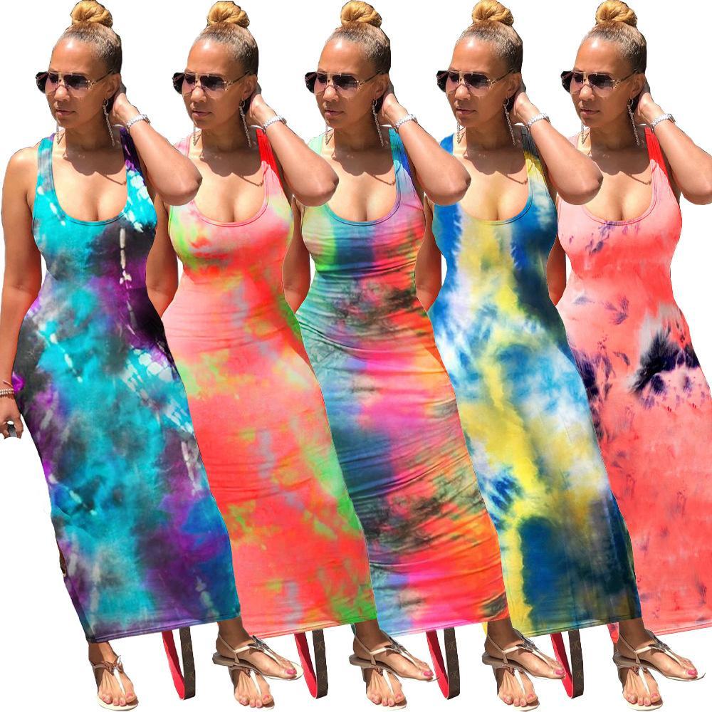 Echoine Abbindebatik Drucke Sexy lange Kleid Backless Verband Maxikleider Ärmel Vintge Vestidos Beach Party im Club Outfis Sundress