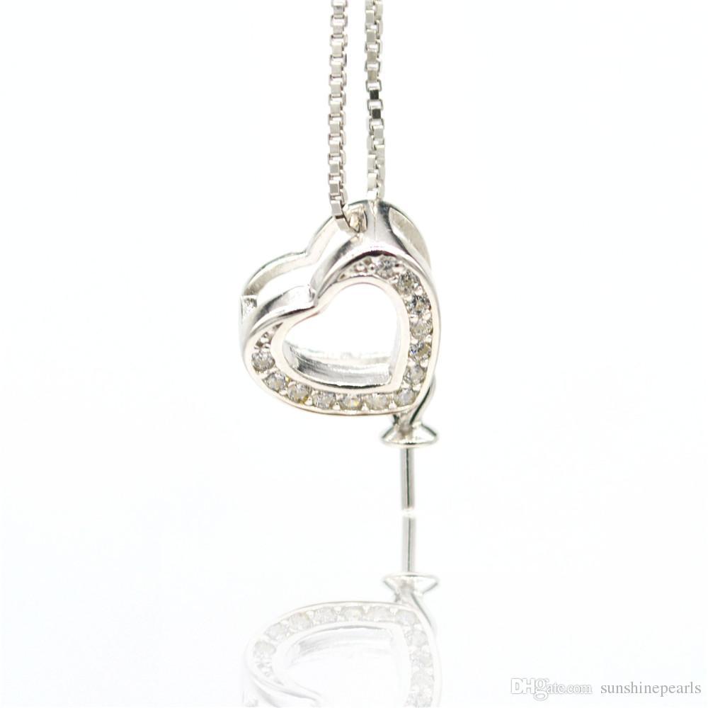 S925 prata pura acessórios pingente de pérola pingente de colar de suporte de montagem de acessórios zircão coração amor pingente