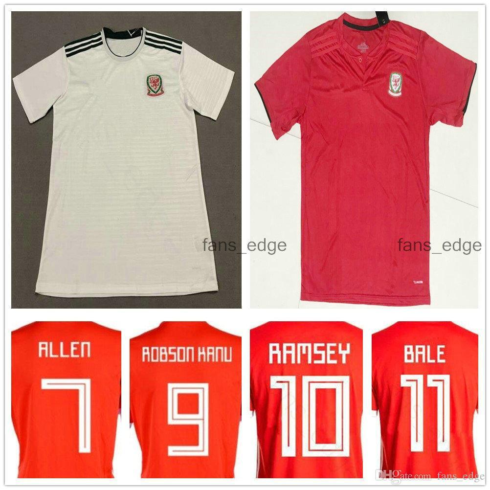 2018 World Cup Wales Soccer Jersey 10 RAMSEY 11 BALE GIGGS SPEED ROBSON KANU RUSH CHESTER ALLEN Custom Home Away Welsh Football Shirt