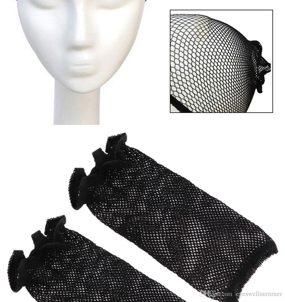 fishnet 가발 모자 Stretchable 탄성 머리 그물 Snood 가발 모자 까만 색깔 머리 그물 가발 그물 Fishnet 직조