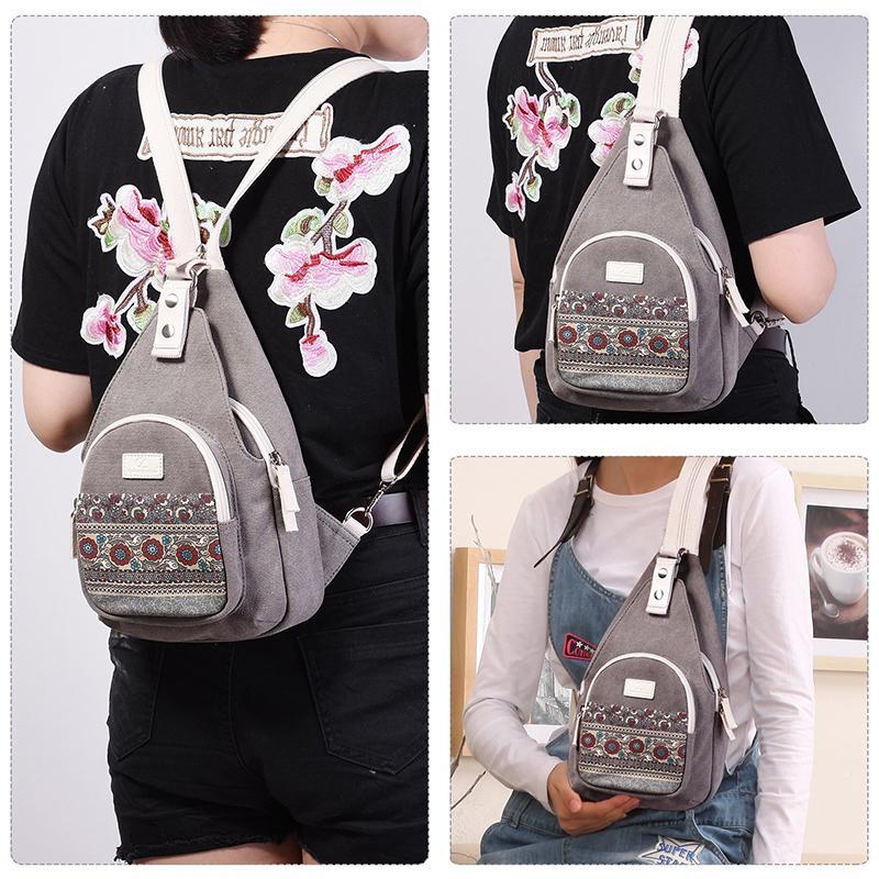 Ladies Chest bag Canvas Floral Print Crossbody Stylish Chest bag Shoulderbag