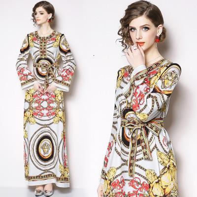 Fashion New Spring Women's Printing Dresses,Ratro Style Long Dress,Long Sleeve,Nice Sahes,Crew Neck LQEI