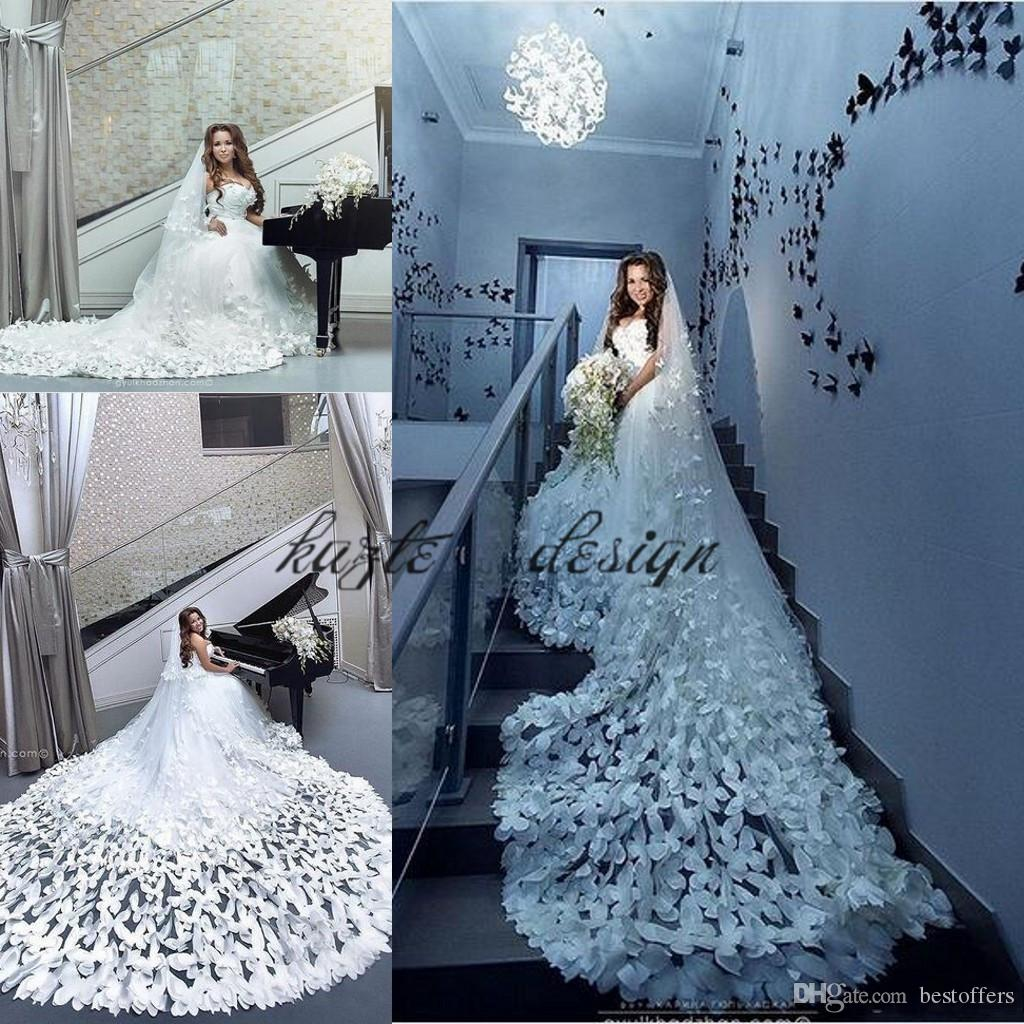 Discount Luxury 3d Floral Butterfly Wedding Dresses 2019 Luxurious