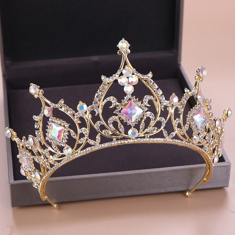 Jóias FORSEVEN cor do ouro Diadema Cabelo nupcial de cristal Beads Tiaras Rhinestone Crown Headpiece Mulheres casamento cabelo Acessórios JL Y200424
