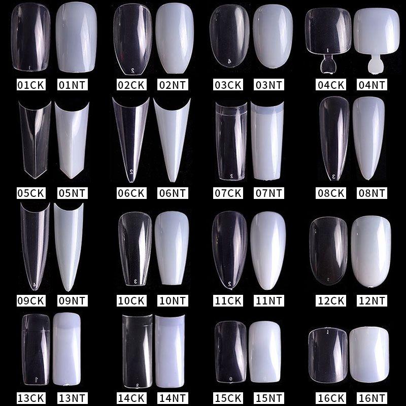 500pcs / pack claro natural Falso puntas de las uñas de acrílico completa / media cubierta del ataúd de Sharp Consejos francesa bailarina falsas uñas del gel ULTRAVIOLETA de la manicura Herramientas