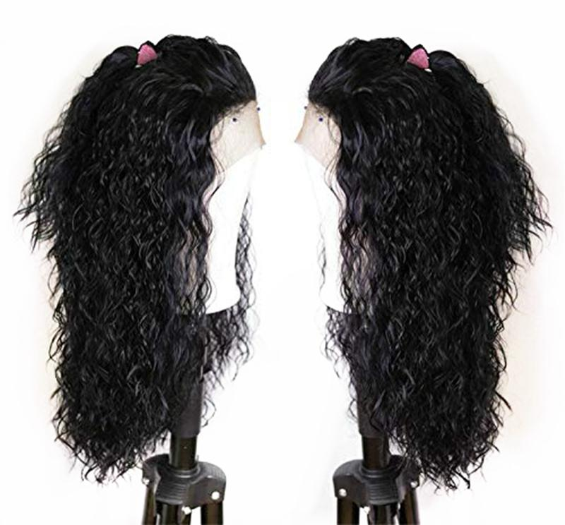 Hot Glueless Black Deep Curly Lace Front Wigs Natural Hairline Long Synthetic Wigs with Baby Hair for Black Women Heat Resistant Fiber Hair