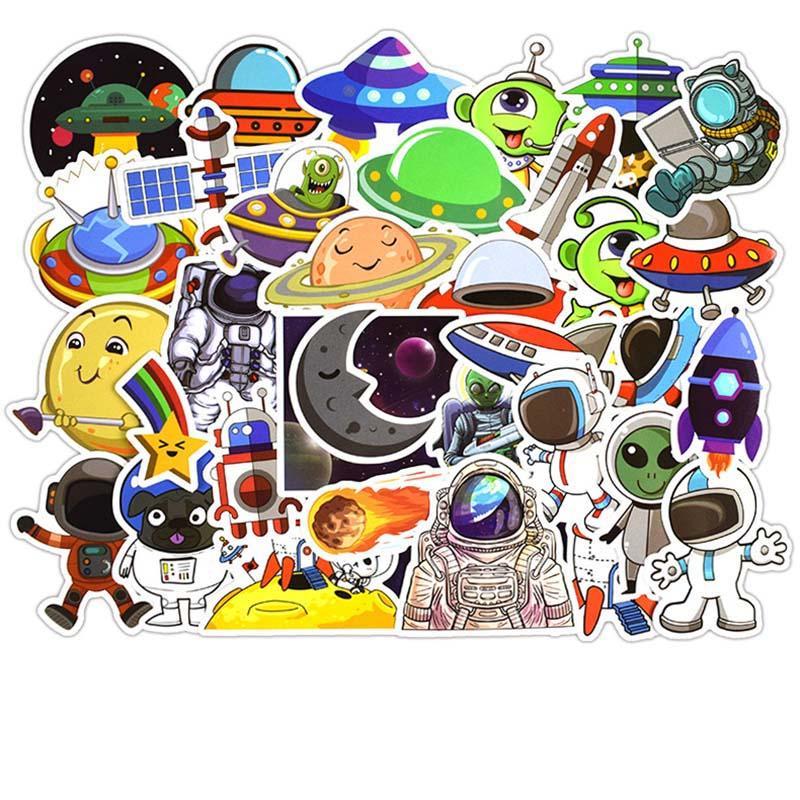 50 قطع ملصقات الكثير الكون ufo الغريبة et عشوائي diy ملصقات صائق ل كتابات سكيت الجليد محمول الأمتعة لعب للأطفال