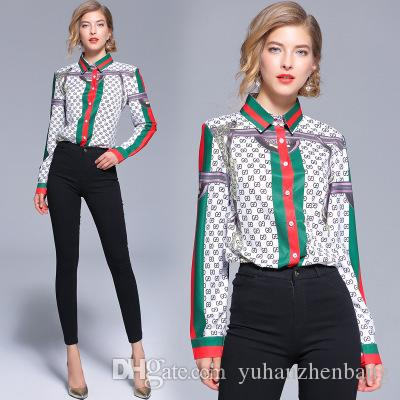 New 2019 Spring Runway Fashion Print Collar OL Women's Ladies Casual Office Button Front Lapel Neck Long Sleeve Slim Blouses Shirts Tops