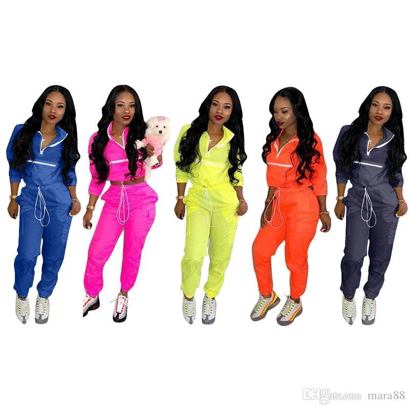 Kadınlar 2 parça set eşofman yaz giysileri şeker renk uzun kollu yaka boyun t gömlek sıska ayak bileği uzunlukta pantolon rahat spor kıyafet 51