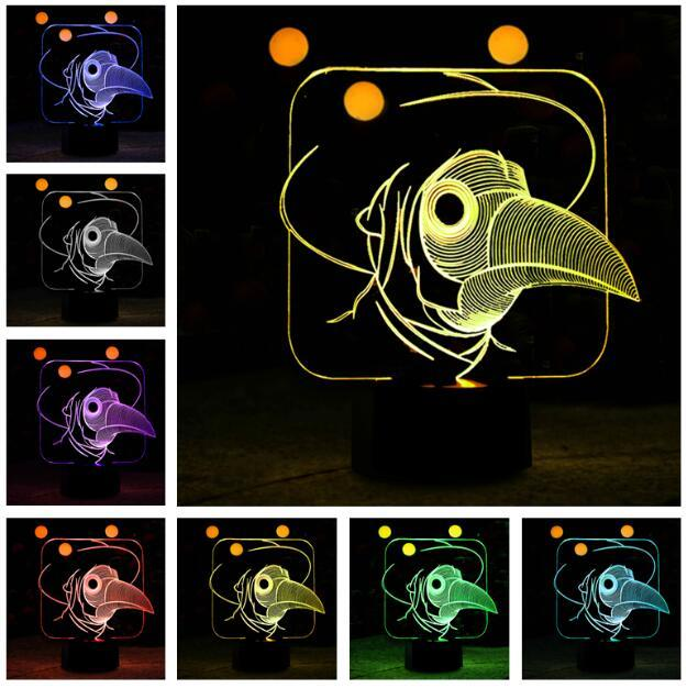 2019 Cartoon 3D Bird 7 Color Change Night Decor Light Boys Bedroom Sleeping Lamp Child Kids Baby Holiday Xmas Thanksgiving Birthday Gifts