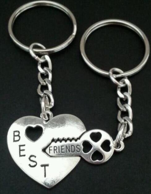 De plata del BFF de los mejores amigos llavero del corazón de bloqueo para las llaves del coche del bolso del bolso del llavero de los pares del anillo dominante de los regalos de joyería Accesorios de recuerdo