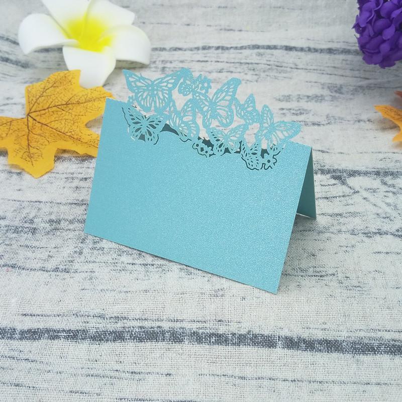 50 Pcs Oco Out Papel Perolado Borboleta Nome Tag Titular Verifique Cartão De Mesa de Casamento Cartão De Assento Do Cartão Do Convite 6ZZ07