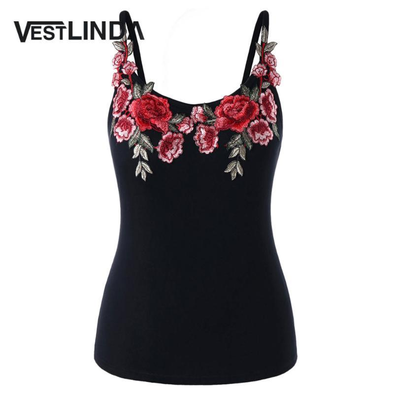 VESTLINDA Embroidery Cami Tank Top Blouse Summer 2018 Fitness Women Clothing Camisole Spaghetti Strap Black Plus Size Cami Tops