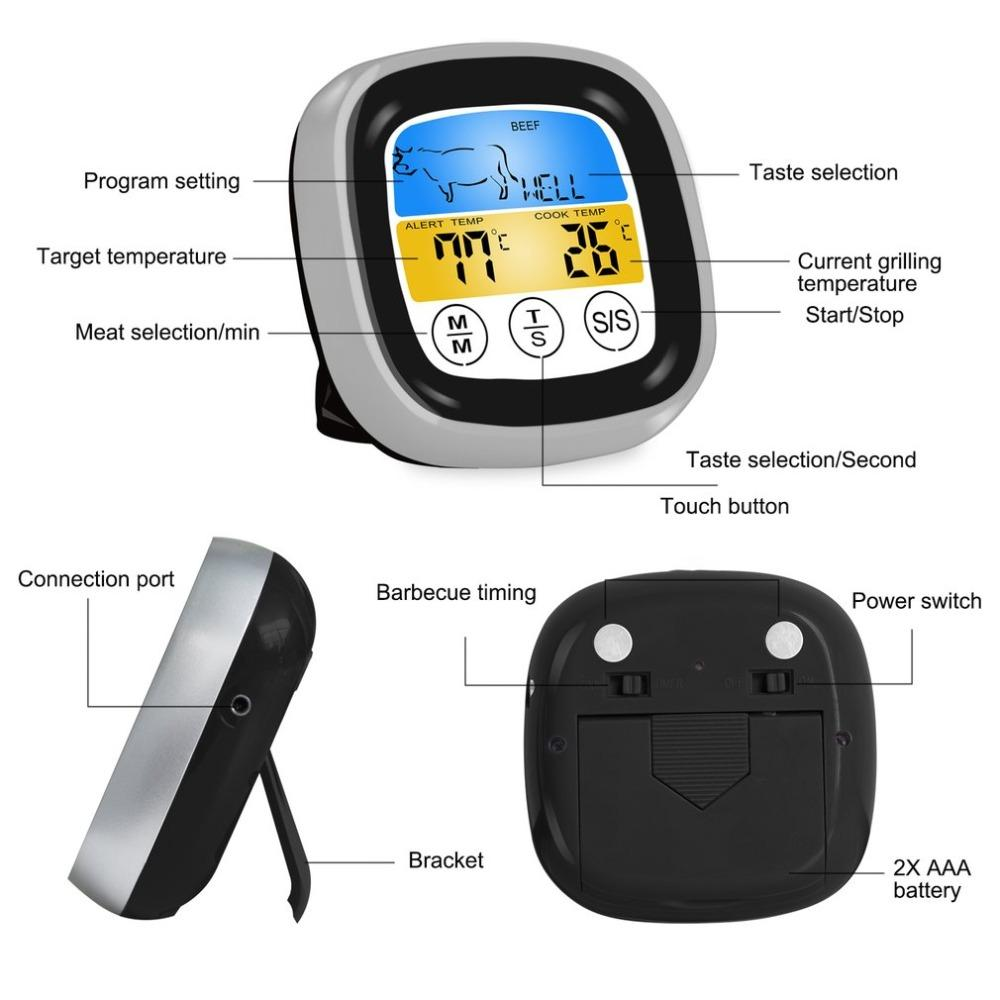 Food Cooking Bluetooth Wireless BBQ Thermometer With Six Probes and Timer For Oven Meat Grill Free App Control Dropshipping