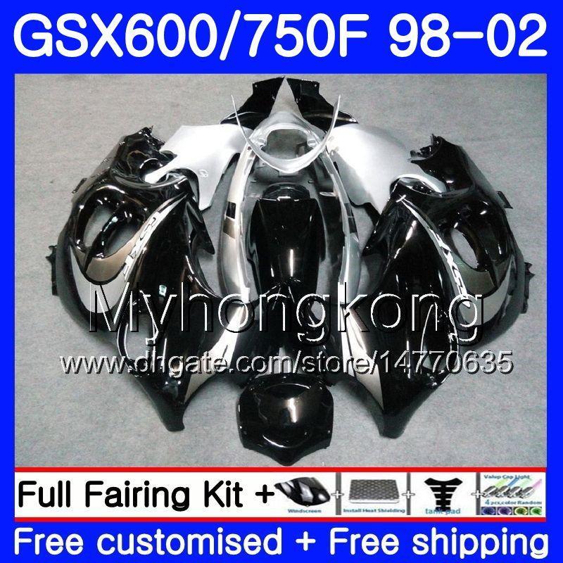 Corps noir argenté chaud pour Suzuki Katana GSXF 600 750 GSXF750 98 99 00 01 02 292HM.12 GSX 750F 600F GSXF600 1998 1999 2000 2001 2002 Carénage